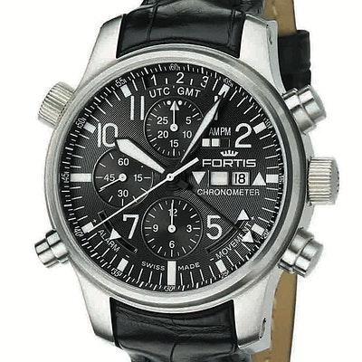 Fortis F-43 Pilot Black Label Chronograph Alarm GMT Ltd. - 703.10.11 LC01