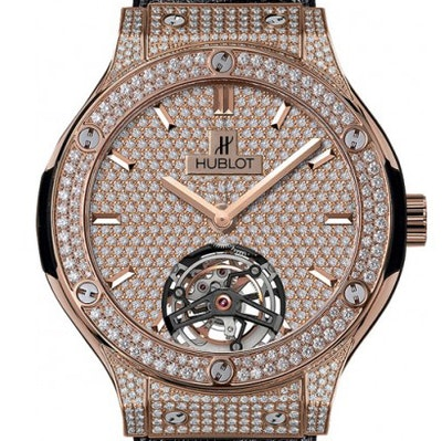 Hublot Classic Fusion King Gold Full Pavee Diamonds Tourbillon - 505.OX.9010.LR.1704