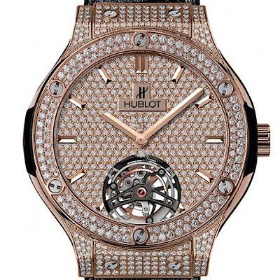 Hublot Classic Fusion King Gold Full Pavee Diamonds Tourbillon - 505.OX.9010.LR.1704