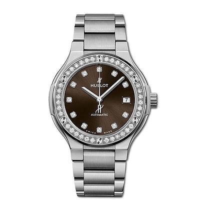 Hublot Classic Fusion Titanium Brown Diamonds Bracelet - 568.NX.897M.NX.1204