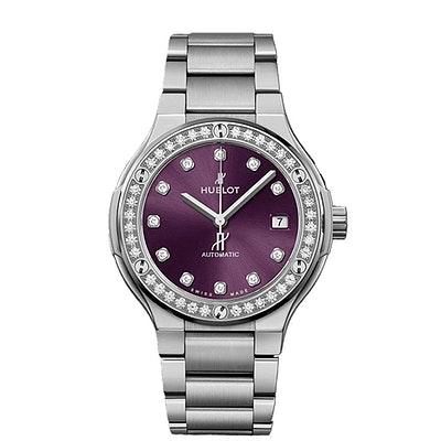 Hublot Classic Fusion Titanium Purple Diamonds Bracelet - 568.NX.897V.NX.1204