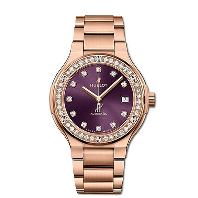 Hublot Classic Fusion King Gold Purple Diamonds Bracelet - 568.OX.898V.OX.1204